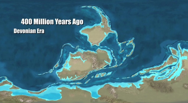 Google Earth Paleomaps Devoninan Era