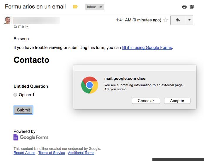 Embed Google forms ingmail