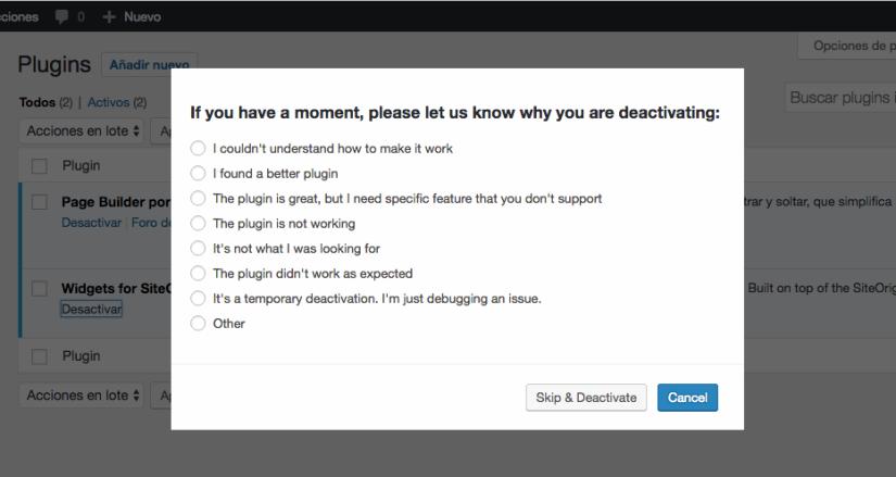 WordPress Plugins uninstallfeedback