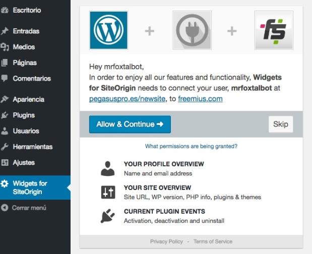 Widgets for SiteOrigin ‹ Pegasus Producciones — WordPress
