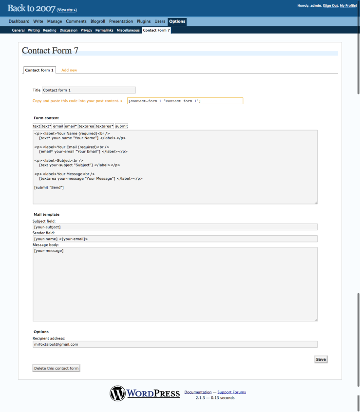 Back to 2007 › Contact Form 7 — WordPress