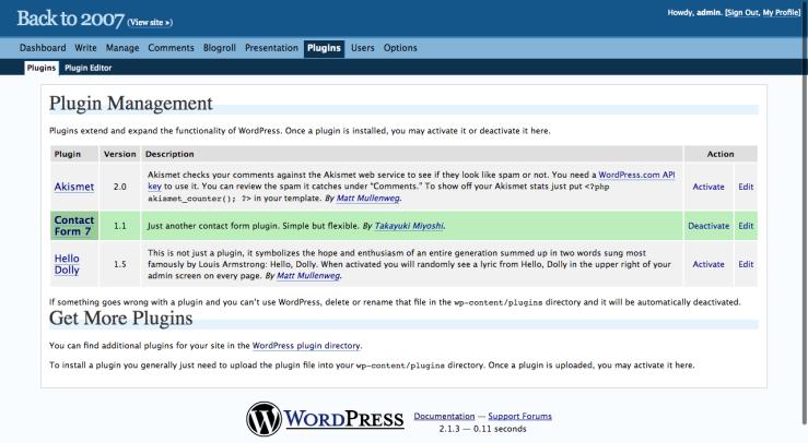 Back to 2007 › Manage Plugins — WordPress